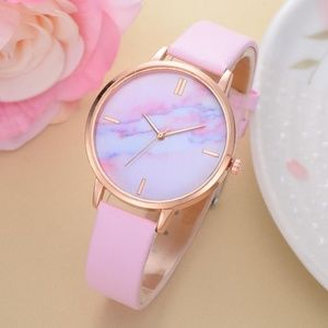 NEW Pink Marble Quartz Watch